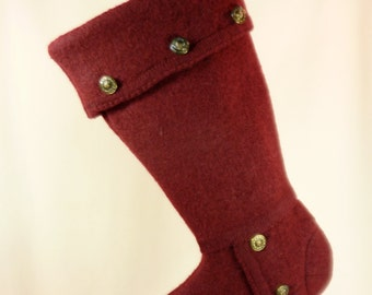 Christmas Stocking//Burgundy Wine//Tally Ho//Boiled Wool//Metal Buttons//Recycled//Repurposed 515