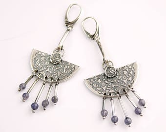Silver, long, dangling earrings with iolites.