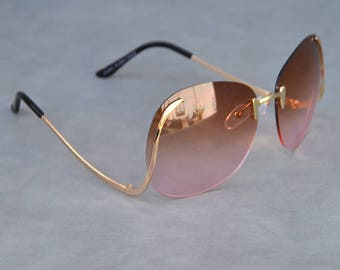 Sevenites Style Round Sunglasses Rose Lenses and Gold Detail