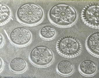 JEWEL Cling GEAR Steampunk Snowflake Stamps