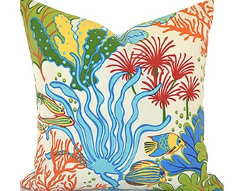 Outdoor Pillows Outdoor Pillow Covers Decorative Pillows ANY SIZE Pillow Cover Orange Pillow Mill Creek Outdoor Splish Splash Atlantis
