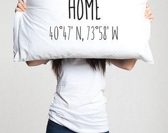 Long Distance Relationship Coordinates Gift pillow case Custom Boyfriend Friend Love Friendship I miss you LDR Moving Housewarming Home gift