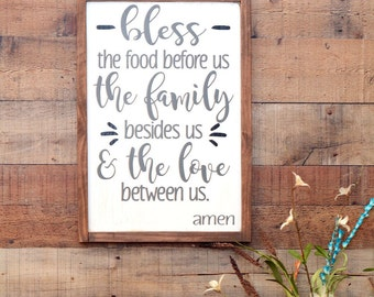 """Bless the Food Before Us - Religious Sign - Wood Sign - Prayer Sign - Kitchen Decor - Dining Room Sign - Prayer Kitchen Sign - 12""""X24"""""""