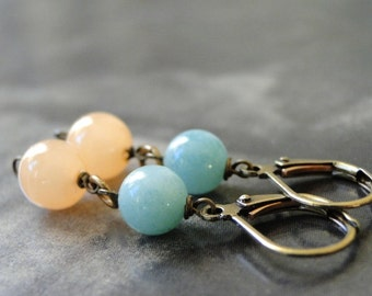 Amazonite and Peach Jade Dangle Earrings / Valentine's Jewelry / Drop Earrings / Gift for Her / Summer Accessories / Boho Chic Earrings