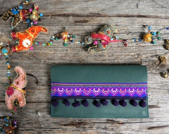 Gipsy bohemian wallet with ethnic ribbon and pompon stripes