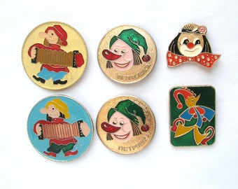 Circus, Children badges, Pick your pin, Clown, Petrushka, Vintage metal collectible badge, Soviet Pin, Soviet Union, Made in USSR, 1980s