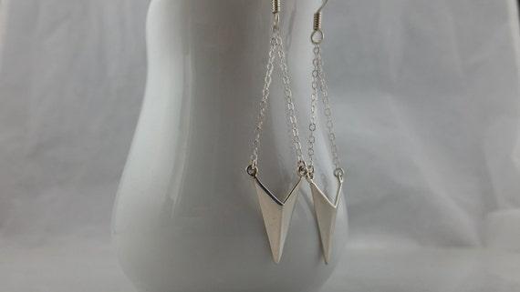 Sterling Silver Chevron Spike Earrings