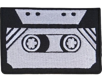 """Old School Music Mix Cassette Tape Embroidered Iron Sew On Patch 3"""""""