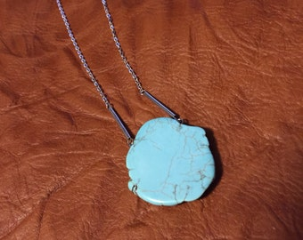 Turquoise Pendant Necklace Silver Chain