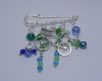 I Want to Ride My Bicycle, I Want To Ride My Bike! Bicycle Charm & Crystal Brooch