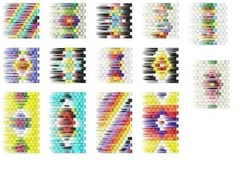 14 Brick Stitch Cylinder/Tube Delica Seed Beading PDF Earring Patterns-102