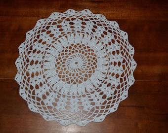 Handmade 21 cm, white, round, made with fine cotton crochet doily