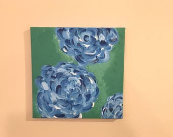 8x8 Acrylic Painting on canvas Blue Flowers with Green