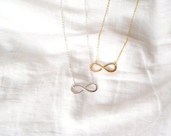 infinity necklace in gold/silver, forever necklace, forever, infinity
