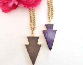 agate arrow pendant - statement necklace - druzy necklace - raw gemstone - bohemian chic jewelry