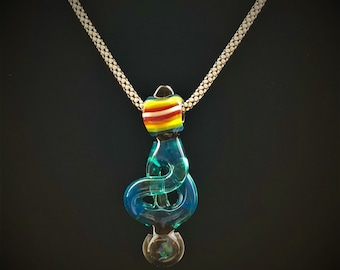 Abstract Glass Pendant w. encased Opal