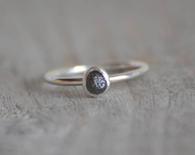 Raw Diamond Engagement Ring, Dark Grey Diamond Ring, April Birthstone, Diamond Stacking Ring