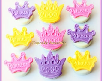 Princess Birthday Prince Birthday Crown Cookies Tiara Cookies Chocolate Oreos Edible Party Favors Custom Dessert Table Treats Cute Gift Idea