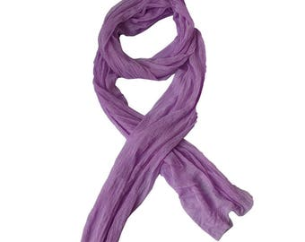 A silk scarf Wrap shawl scarf long soft purple