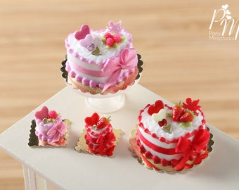 Le Valentin 2018 - Limited Edition Valentine's Day Cake in Pink or Red - 1/12 Scale Dollhouse Miniature Food
