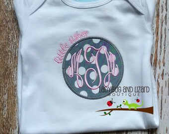 Little Sister Circle Monogram Infant Gown Size 0/3M