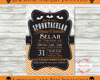 Editable Halloween Party Invitation - Halloween Birthday Party Supplies - INSTANT DOWNLOAD - Edit at Home with Adobe Reader Now!