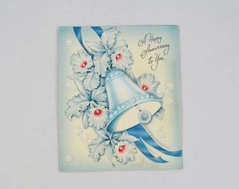 Vintage Anniversary Card, Blue Bell Satin Cushion Greeting Card Ephemera