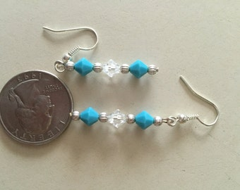 Turquoise Swarovski crystal Earrings