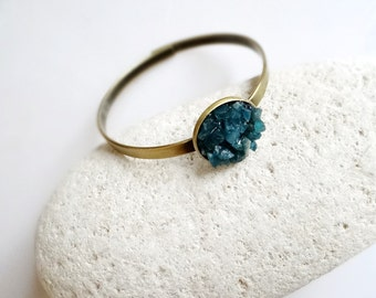Apatite Bracelet, Blue Bangle Bracelet, Gemstone Cuff Bracelet, Bohemian Bracelet