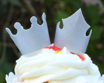 Edible Silver Crowns Tiaras 3D King Queen Princess Prince Wafer Rice Paper Wedding Cake Decorations Birthday Cupcake Decorations Toppers