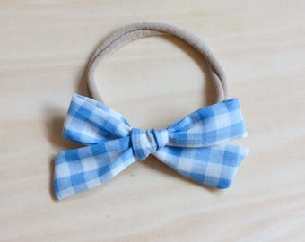 Gingham School Girl Bow - blue hair clip, checkered bow, nylon headband