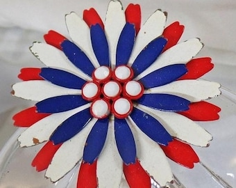 BIG SALE Vintage Red White Blue Flower Brooch. Mod Flower Power Pin.