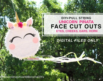 DIY Pull String Unicorn Piñata CUT OUTS - pdf, svg and png files - Digital files
