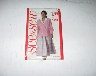 Half Price Sale UNCUT FACTORY FOLDS Vintage Butterick Pattern 4546 See And Sew 1989 Jacket Skirt And Blouse Was 7.00 Now 3.50