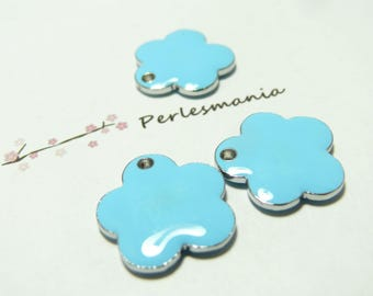 5 pendants cloud blue enamel lozenge.