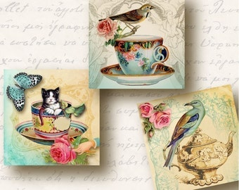 Tea Time 1 inch Square Tiles, Digital Collage Sheet, Download and Print Jpeg Images