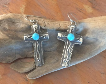 E240T Chimayo Cross Overlay with Turquoise sterling silver southwestern native style earrings