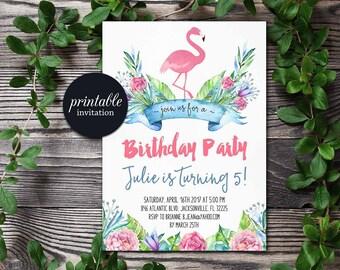 Flamingo Birthday Invitation, tropical Floral Birthday Invitation, Spring Summer Girl Birthday Invitation Pool Party Birthday Invitation
