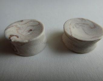 "Handmade 1/2"" Plugs (Marbled Porcelain)"
