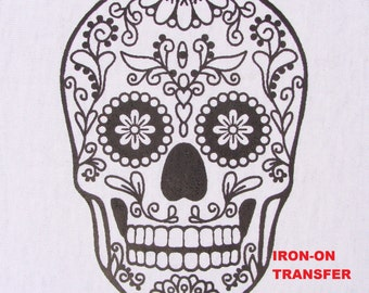 Sugar Skull TRANSFER Iron On Heat Press DIY for T shirts Totes Adult Coloring Page Zendoodle Color with Fabric Markers Halloween Party Favor