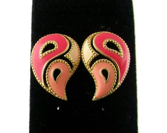 Paisley Earrings -Vintage Peach and Gold painted