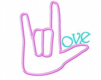 Sign Language Love Sign Applique Embroidery Design, 4 sizes, Instant Download