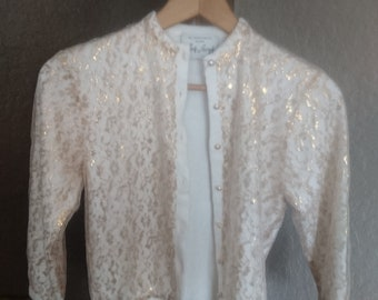 Gold Lace Overlay Vintage Sweater