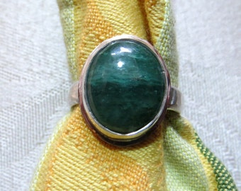 Green Fuschite in Argentium Sterling Ring Size 7 & a Half