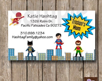 Supper Hero Mommy and Me Play Date card - Print at Home - Calling Card - Friendship tag