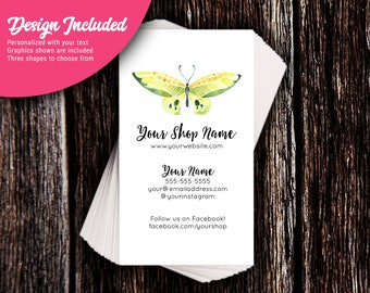 Business Cards - Custom Business Cards - Personalized Business Cards - Mommy Calling Cards - Green Butterfly