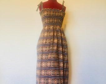 Spaghetti Strap Dress Calf Length Ruching Dress Size XS S Vera Bradley Fabric