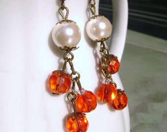 Look at me - Czeck antique white pearl red orange glass long earrings