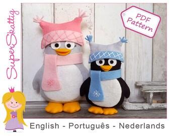 Felt pattern The Happy Penguins, softie pattern animals, plush pattern, pdf sewing pattern by Superskattig