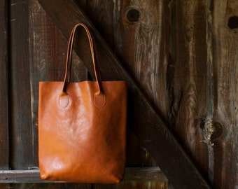 The Essential Tote in Cognac, Cognac Leather Tote Bag, Leather Tote, Brown Tote Bag, Tote Bag, Brown Leather Tote, Cognac Leather Bag